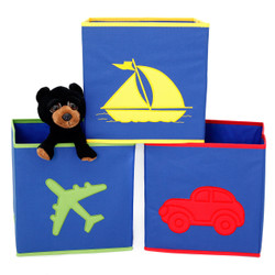 Boys Blue Cubby Cube | Collapsible Cubby Cube Set in Boats Planes and Cars | Bucasi Collapsible Organizers | Main