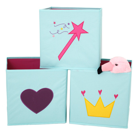 Girls Mint Cubby Set | Aqua Collapsible Cubby Set for Girls | Magic Wand Heart and Crown Cubby Set | Bucasi | Main