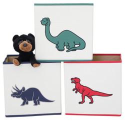 Boys Dinosaur Cubby Cube | Collapsible Cubby Cube Set in Dinosaur Print | Bucasi Collapsible Organizers | Dinosaur Cubby Cube | Main