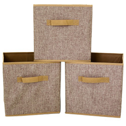 Linen Brown Cubby Cube | Bucasi SCR375 | Collapsible Cubby Set | Set of 3
