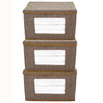 Linen Brown Sweater Box | Bucasi SCR725 | Collapsible Cubby Set | Set of 3