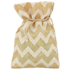 Burlap Wine Gift Bags in Tan Chevron | Bucasi | OBG340S| Main View