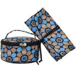 60s Floral Mod Print Makeup Bag Set in Blue