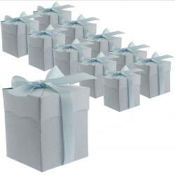 30 Blue Cute Paper Party Favor Bags - Small Paper Bags with Ribbon