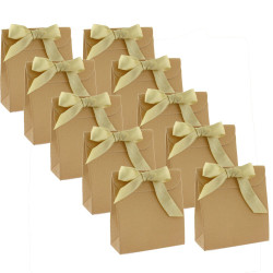 30 Cute Paper Favor Party Gift Bags with Envelope Enclosure Gold-tone Glitter