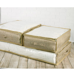 Beige Polyester Under the Bed Linen Blanket and Coat Organizer Set by Bucasi | Bucasi SCR730 | Set