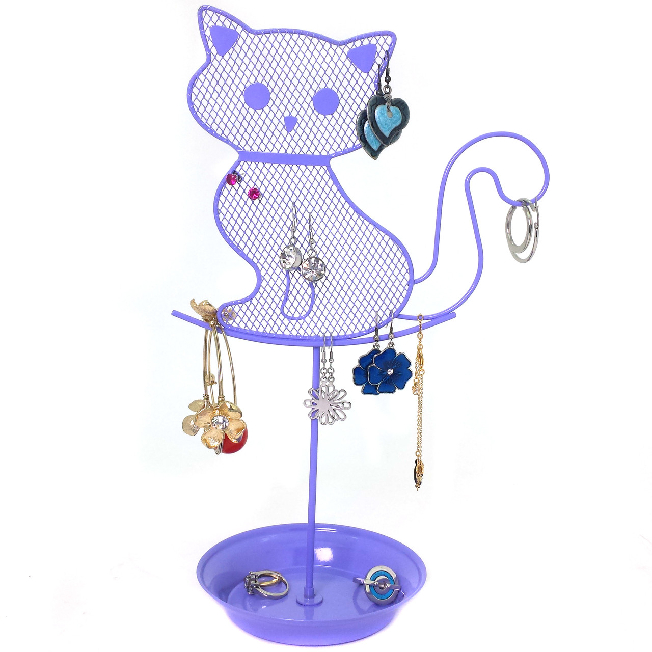 Cat Jewelry Stand In Purple Girls Earring Necklace Organizer