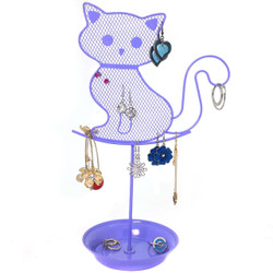 Girls Cute Cat Jewelry Organizer – Purple Earring Jewelry Stand – Lavender Dresser Top Jewelry Organizer for Teens – Earring Holder