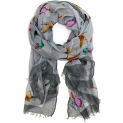 Modern Bird Print Scarf In Gray