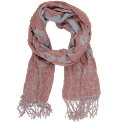 Floral Thick Viscose Scarf | Pink & Gray Ladies Scarf | Bucasi SF025 | Main