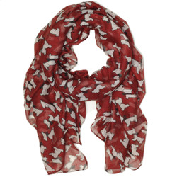 Scottish Terrier Dog Print Scarf in Red and White by Bucasi