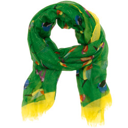 Bird Print Scarf In Emerald Green