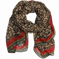 Aria Leopard Print and Gold Chain Link Scarf In Brown/Red