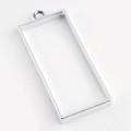 Open Frame Alloy Pendant Rectangle 49x19x3mm Platinum 10/pkg