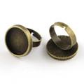 Adjustable Alloy Ring Round Cabochon Setting 18mm Antique Bronze 10/pkg