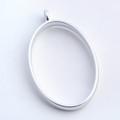 Open Frame Pendant Oval 32x21mm Matte Silver 10/pkg