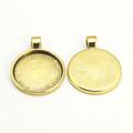 Round Flat Alloy Pendant 25mm 10/pkg -  Antique Gold