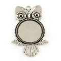Round Flat Alloy Owl Pendant - Antique Silver 10/pkg