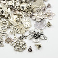 Tibetan Style Mixed Charms 50g - Antique Silver Flowers