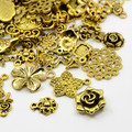 Tibetan Style Mixed Charms 50g - Antique Golden Flowers