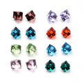 Faceted Cube Glass Cabochons Mixed Colours 20/pkg