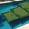 "Here the 4' x 6' Floating Golf Green is on the left, next to the 6' x 8' ""Tour"" Floating Golf Green"