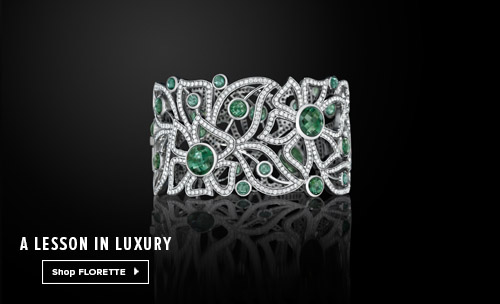 18K white gold and green tourmaline cuff from Carelle Jewelry's Florette Collection