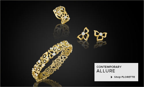 18K yellow gold and diamond bracelet ring and earrings from Carelle Jewelry's Florette Collection