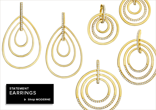 Yellow Gold and Diamond Pave Moderne Earrings from Carelle