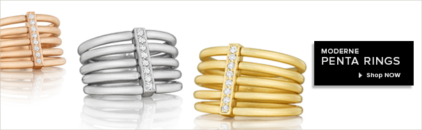 18K Gold and diamond rings from the Moderne Collection
