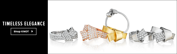 18K Gold and diamond rings from the Knot Collection