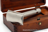 1924 Gillette Big Fellow Double Edge Safety Razor Set in Wood Box - Factory Nickel