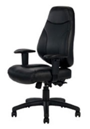 Preston High Back Managerial Chair - With Height Adjustable Arms - Black PU