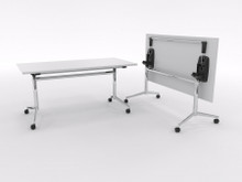 Uni Flip Table 1500mm long x 750mm wide - chrome frame