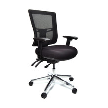 Buro Metro II 24/7 with Polished Aluminium Base and Height & Width Adjustable Arms
