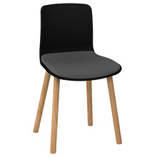 Dal Acti Wooden 4 Leg Chair Black Shell / Light Grey Vinyl