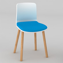 Dal Acti Wooden 4 Leg Chair White Shell / Blue Vinyl
