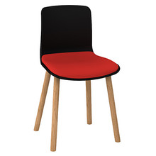 Dal Acti Wooden 4 Leg Chair Black Shell / Red Vinyl
