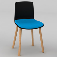 Dal Acti Wooden 4 Leg Chair Black Shell / Blue Vinyl