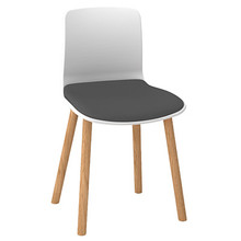 Dal Acti Wooden 4 Leg Chair White Shell / Light Grey Vinyl