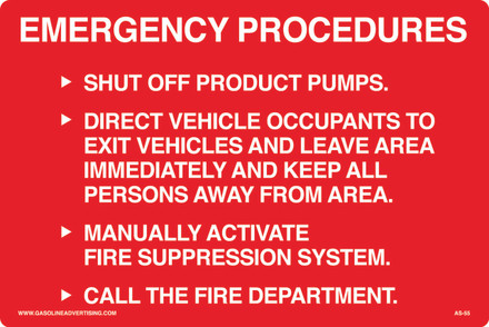AS55 Aluminum Sign - EMERGENCY PROCEDURE