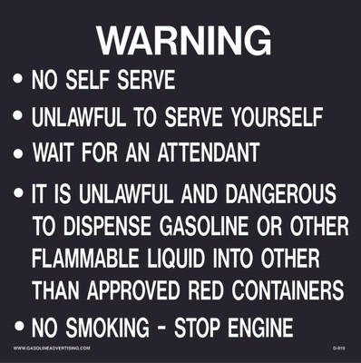 D-910 Fueling Instruction Decal - WARNING...