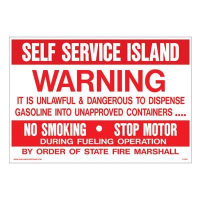 D-950 Fueling Instruction Decal - SELF SERVICE...