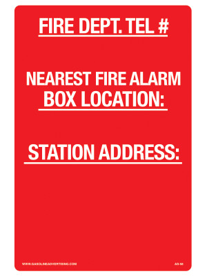 AS-58 Aluminum Sign - FIRE DEPT. Tel #.. Station Address..