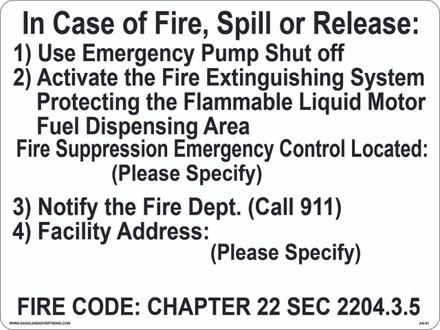 AS-61 Aluminum Sign - In Case of Fire, Spill or Release.