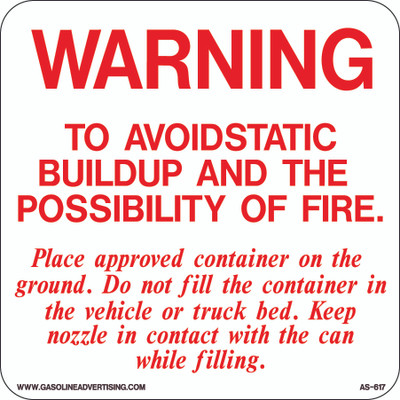 AS-617 Aluminium Sign - To Avoid Static