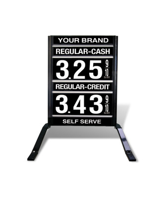 "1 GRADE VXS120 SERIES CASH/CREDIT FUEL PRICE SIGN WITH 12"" FLIP DIGITS VERSA DISPLAY - FREESTANDING - CURB STAND - MONUMENT STYLE"