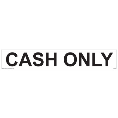 CVD08-26 Payment Decal - CASH ONLY