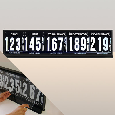 "5 Grades M500 Series Pump Top Fuel Price sign w/ 4.5"" Magnetic Digits"