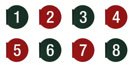 """Pump Number Flag Mount 7"""" Round Signs"""
